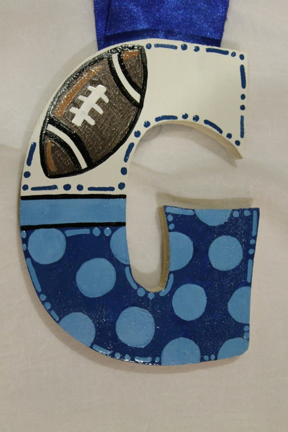 Baby Boy Nursery Letters Football Blue by TheCrazyPolkaDot on Etsy, $15.00