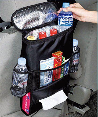 Kabalo Organisateur de siège de voiture / Tidy avec sac isotherme et distributeur de tissus, porte-boissons refroidisseur réfrigérateur:…
