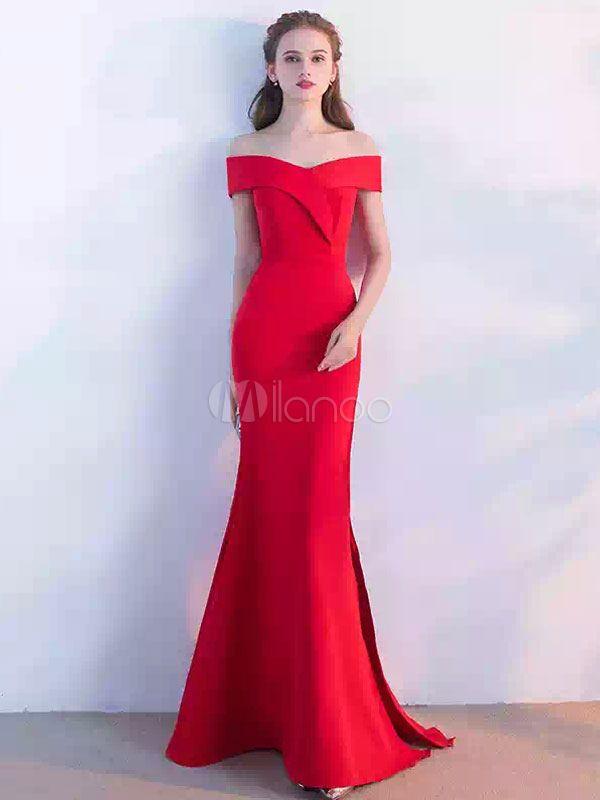 Traje de Baile de poliéster rojo con escote de hombros caídos Cremallera de silueta sirena con manga corta con abertura lateral