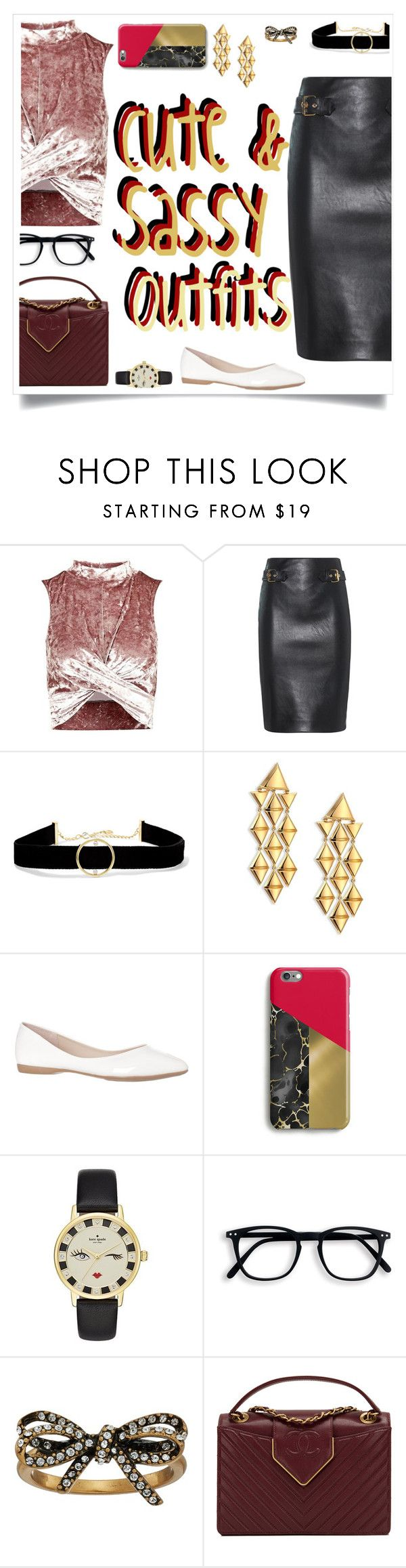 """""""Cute and Sassy"""" by alliesmns ❤ liked on Polyvore featuring Topshop, Moschino, Anissa Kermiche, Marina B, Kate Spade, Marc Jacobs and Chanel"""