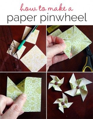 How to Make a Paper Pinwheel for Scrapbook Layout Embellishment