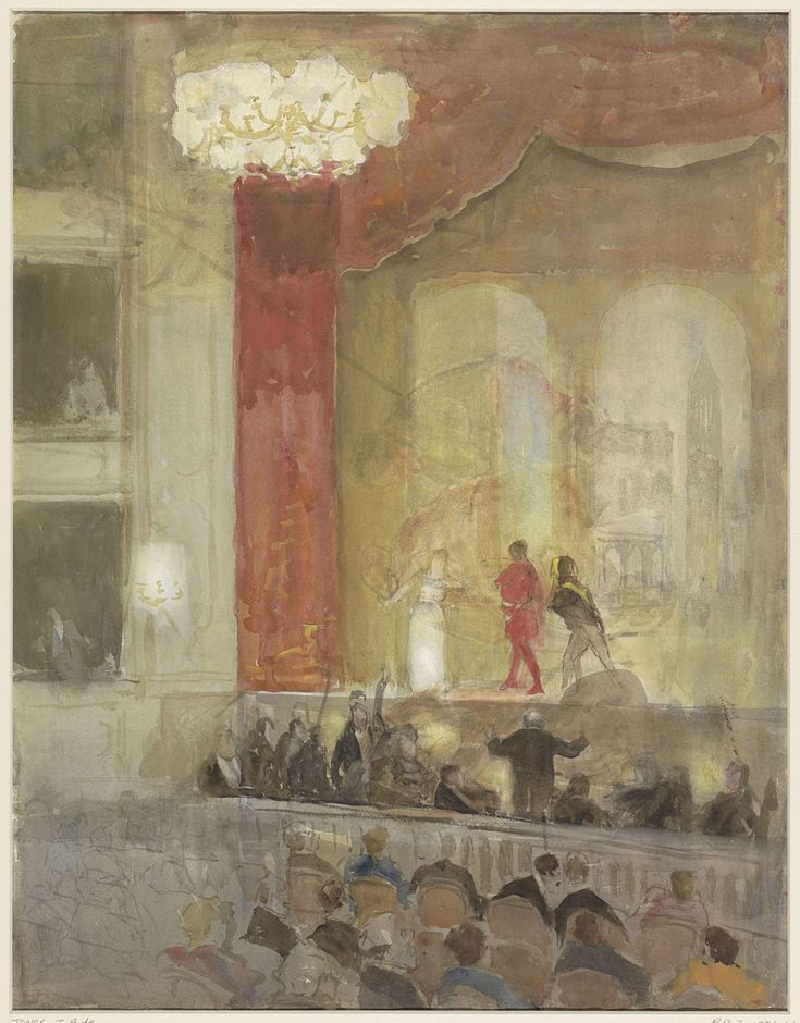 Princesse Schouwburg te Den Haag tijdens de opvoering van Othello, Johan Antonie de Jonge, 1874 - 1927
