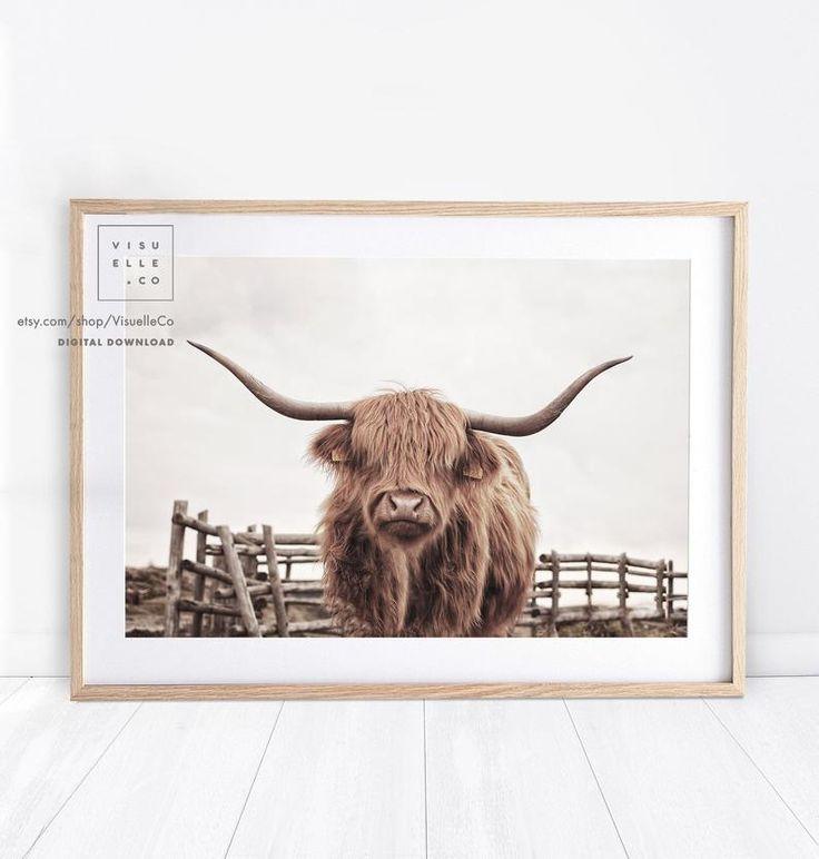 Highland cow print printable wall art farmhouse decor