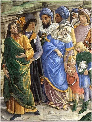 """Detail from the painting previously pinned, Botticelli's """"The Trials of Moses"""", depicting the exodus from Egypt. Despite the general Renaissance Italian appearance of the people, Botticelli accurately reflected the racial diversity of the Jew"""