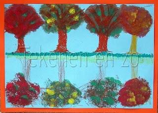 Herfstbomen aan de waterkant