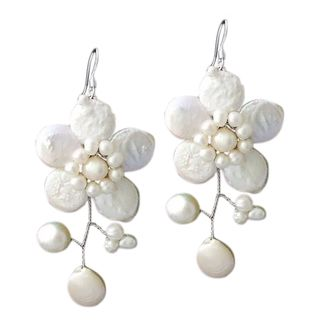 Sterling Silver Dreamy Nature Black Pearl Flower Earrings (Thailand) | Overstock.com Shopping - The Best Deals on Earrings