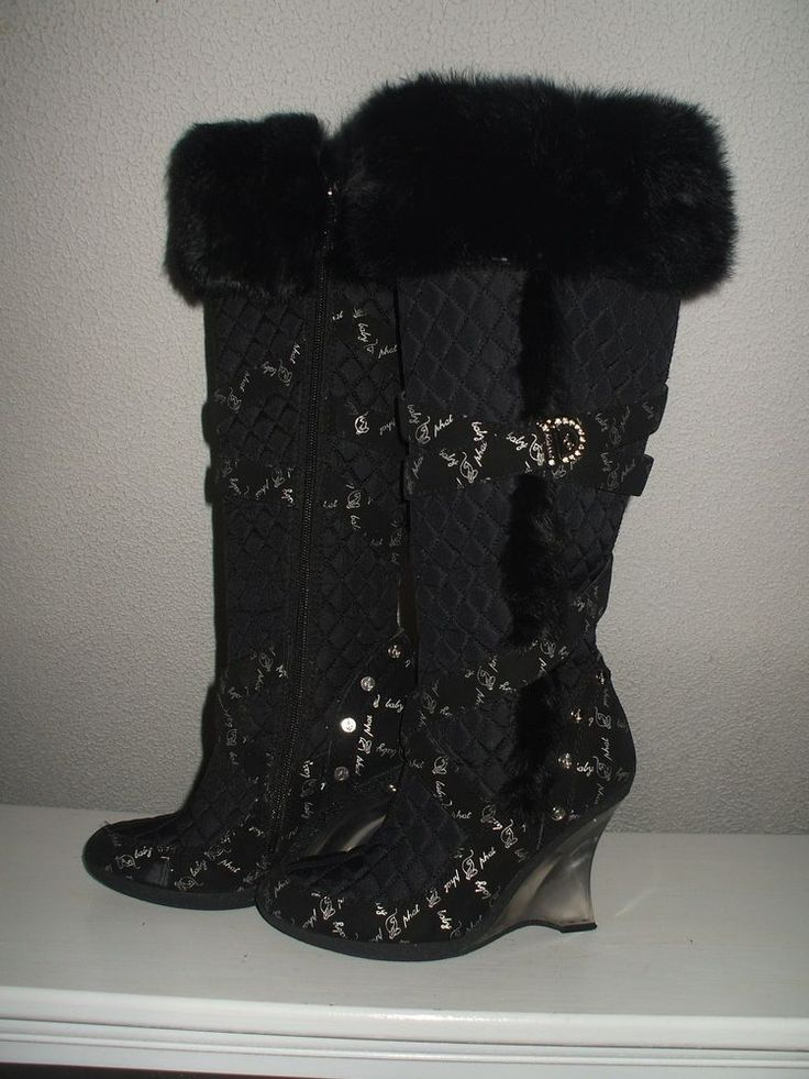 womens baby phat odessa fur trim tall belted logo boots