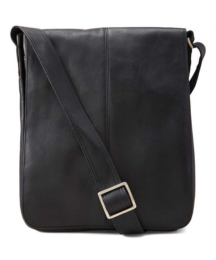 Black Leather Vertical Messenger Bag