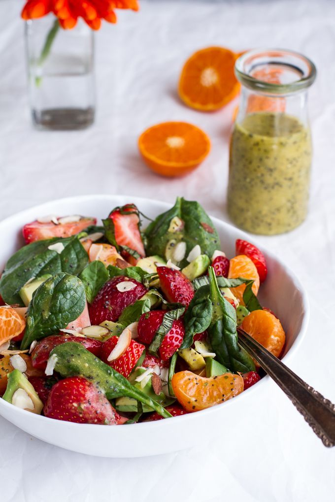 Spinach and Avocado Fruit Salad with Orange Ginger Vinaigrette