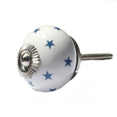 Knopp i porslin - star - vit med blå stjärnor i gruppen - Barnrum efter färg / Vitt hos Blå Elefant (laf-kn523)