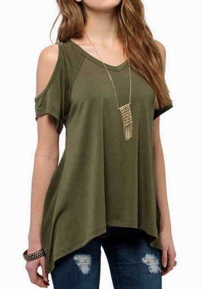 Army Green Plain Short Sleeve Wrap Dacron T-Shirt <3