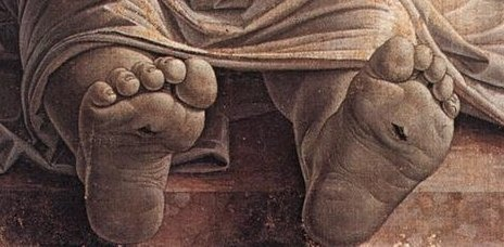 Detail of   Lamentation of the Dead Christ   by Andrea Mantegna