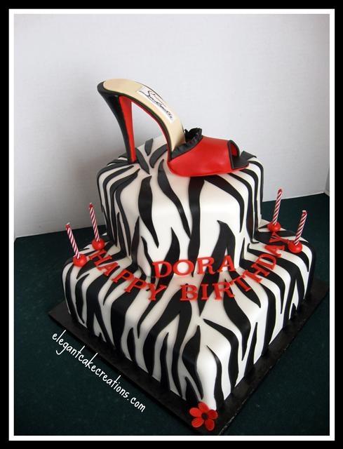 Zebra Print & Red Stiletto Cake