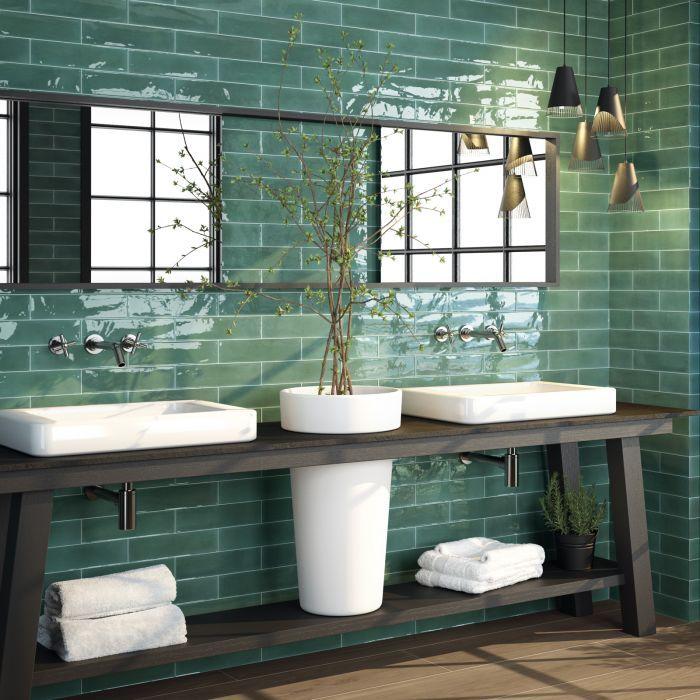 Opal Emerald Ceramic Wall Tile 7 5x30cm Colorful Bathroom Tile Green Bathroom Bathroom Colors