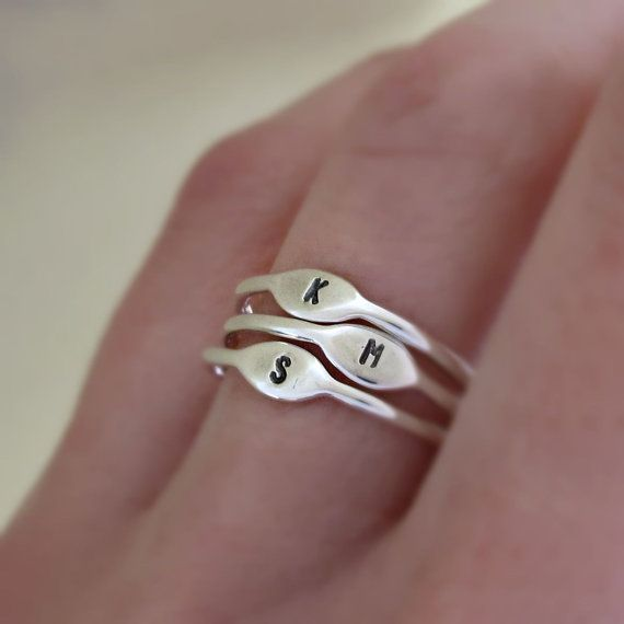 Tiny Sterling Silver Letter Stacking Ring Personalized with your Initial, $18.00