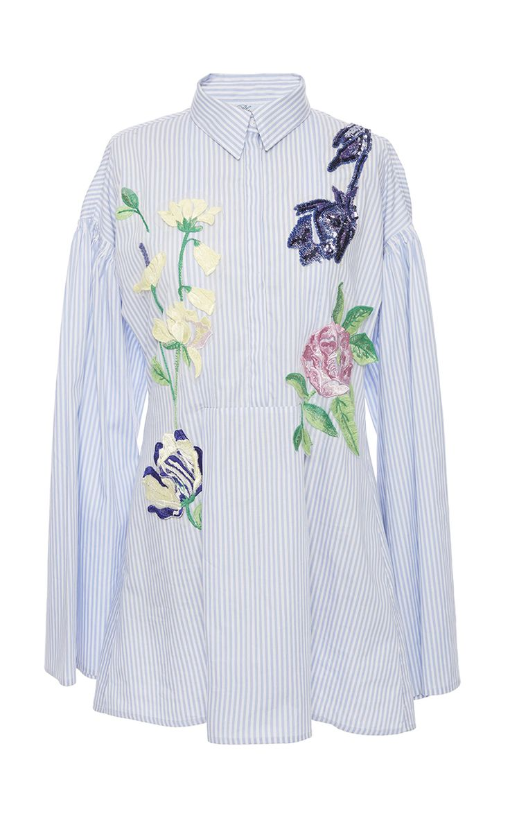 Blue Floral Embroidered Striped Cotton Tunic by BLUMARINE for Preorder on Moda Operandi