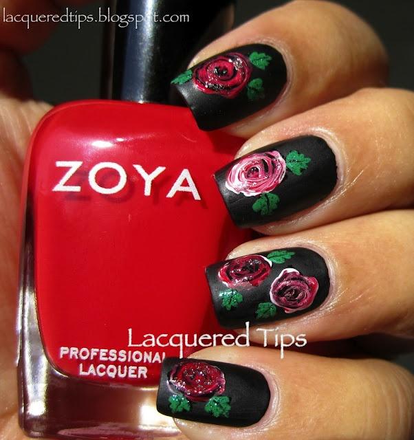 Roses are red!: Nails Nails, Nails Art, Nails Design, Black And White, White Challenges, February Nails, Rose Nails, Nails Polish, Nail Art