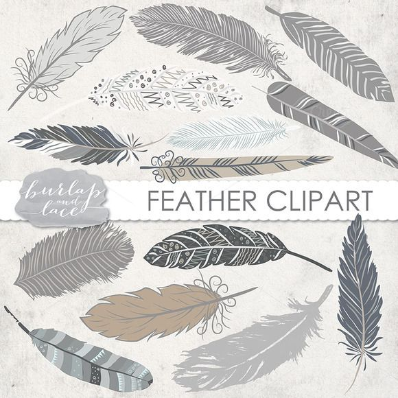 VECTOR/ Hand Drawn clipart feathers - Illustrations - 1