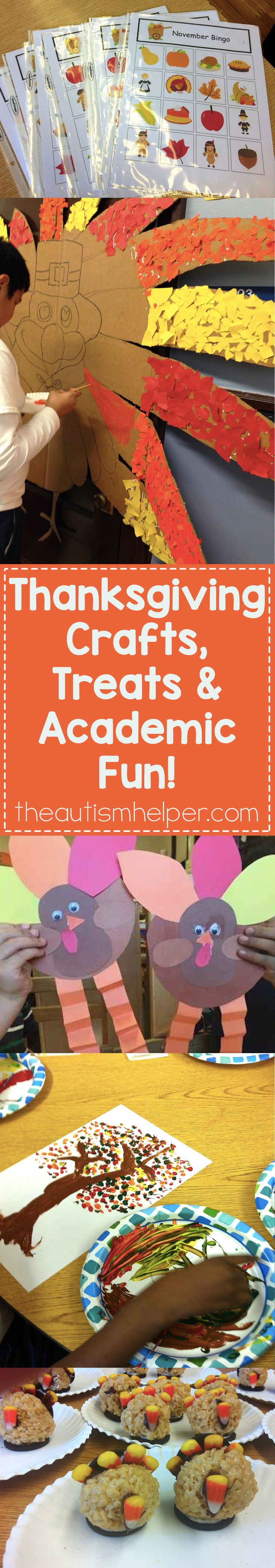 We're sharing TONS of links to our favorite Thanksgiving crafts, treats & academic activities!! From bingo to rice crispies, you'll have lots to enjoy this month! From theautismhelper.com #theautismhelper