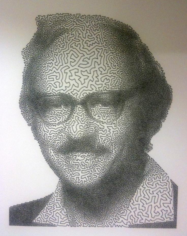 Portrait of George Dantzig created by Traveling Salesman Problem.