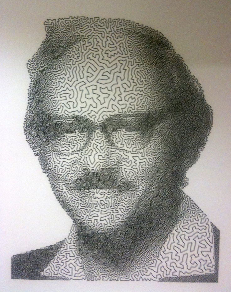 Portrait of George Dantzig created by Traveling Salesman Problem.