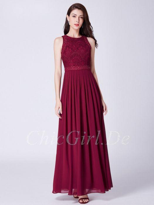 2f6f27fe27af3b Brautjungfernkleider Abendkleid Hochgeschlossen Lang Weinrot Chiffon Spitze  Perlen