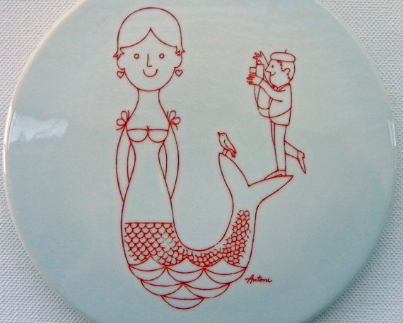 Vintage Bing and Grondahl Antoni  designed Red Mermaid and Photographer.  Midcentury wallhanging.  by EdibleComplex/Etsy.