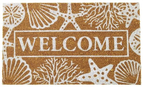 Coastal beach theme welcome door mat: http://www.completely-coastal.com/2016/02/beach-nautical-flash-sales-at-coastal-bella.html