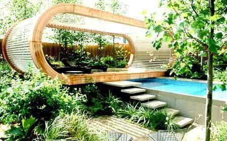 Interesting poolside patioGardens Ideas, Garden Design, Hanging Plants, Nature Gardens, Gardens Design Ideas, Modern Gardens Design, Interiors Design, Contemporary Gardens, Gardens Shades