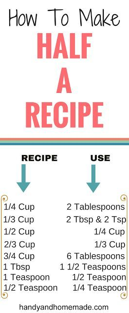 Handy Infograph How To Make Half Of A Recipe