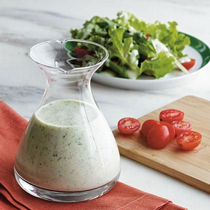 I always thought of creamy dressings as junk food, until I started using Greek yogurt instead of sour cream or regular mayonnaise. Use the dressing like you'd use any ranch or Green Goddess dressing; on salads, as a dip for veggies, or as a sauce for anything your kids claim they won't eat. It can also be used as a marinade, on top of baked potatoes, or served as a dipper for your oven fries. Now you can serve creamy dressings without the guilt.