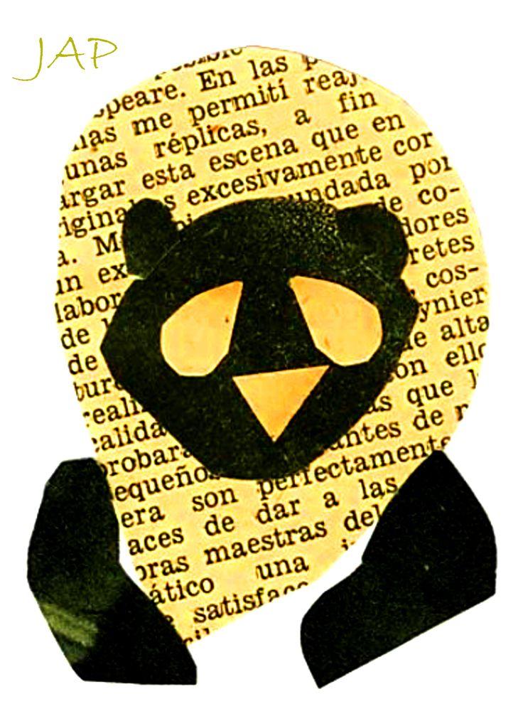Síntesis de Animales Panda-León -  Collage revistas antiguas
