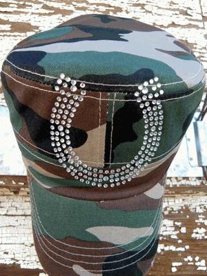 Army cadet style cap with clear rhinestone horseshoe