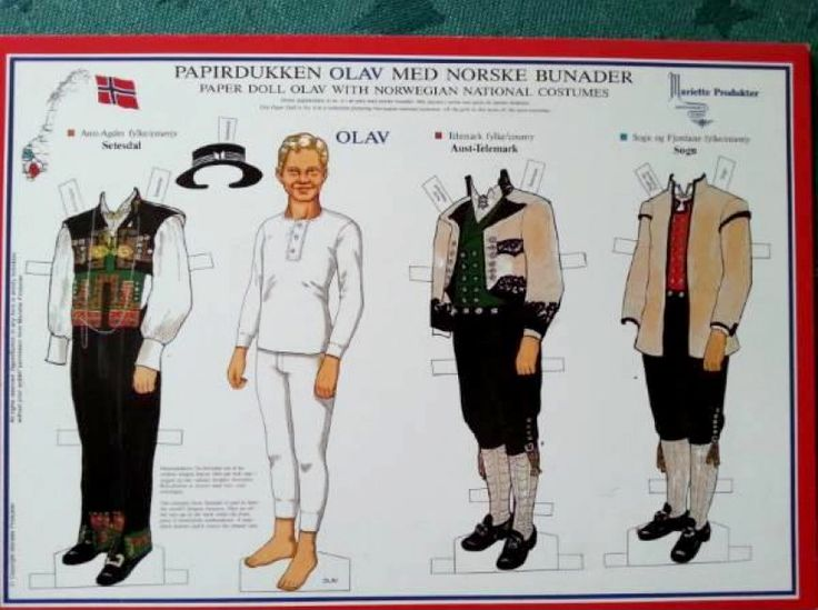 Olav no.?, a paper doll with Norwegian National Costumes from Setesdal, Aust-Telemark, and Sogn