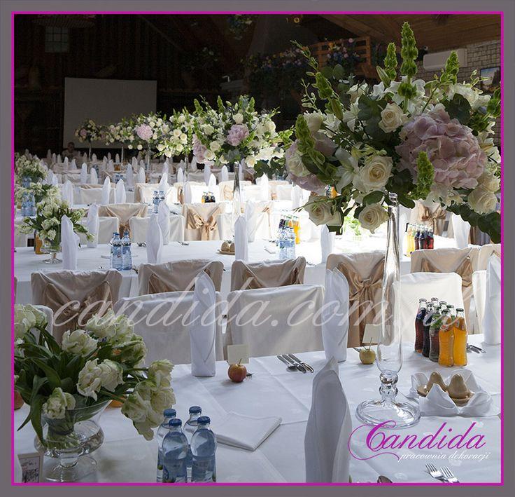 dekoracje ślubne stołów weselnych i sali weselnej