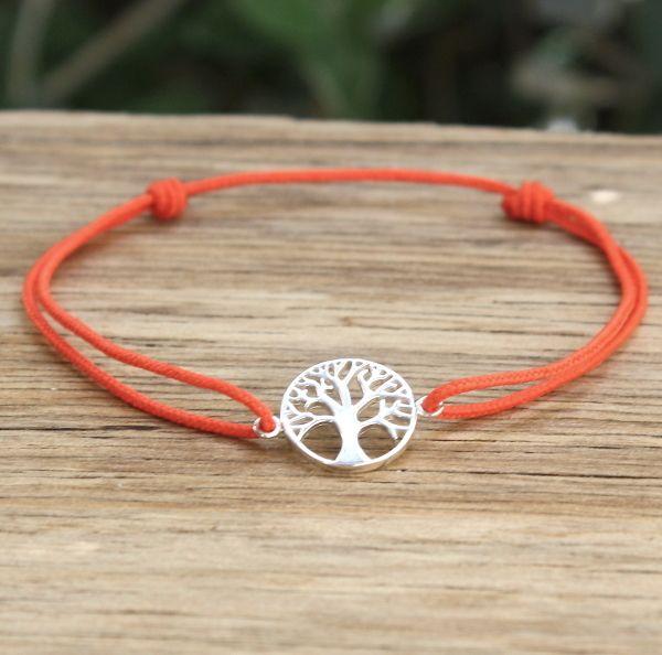 Bracelet cordon argent 925 arbre de vie