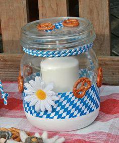 Windlicht #Oktoberfest #Deko-Idee mit #Einmachglas Foto: Deko-TU Shop