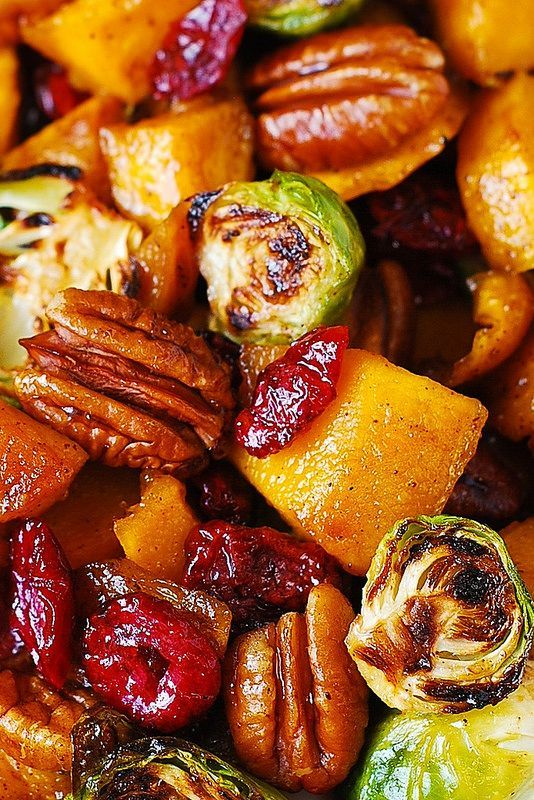 The Best Thanksgiving Side Dish: Roasted Brussels Sprouts, Cinnamon Butternut Squash, Pecans, and Cranberries @juliasalbum