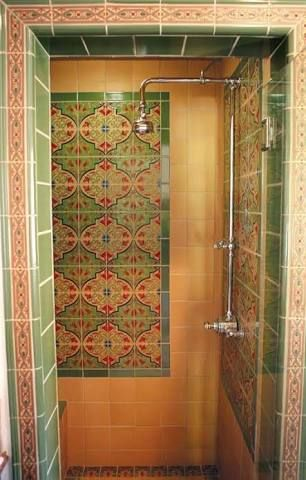 image result for green mexican tile bathroom