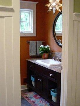 GUEST BATHROOM IDEAS - darker wall paint, white trim, darker cabinet?