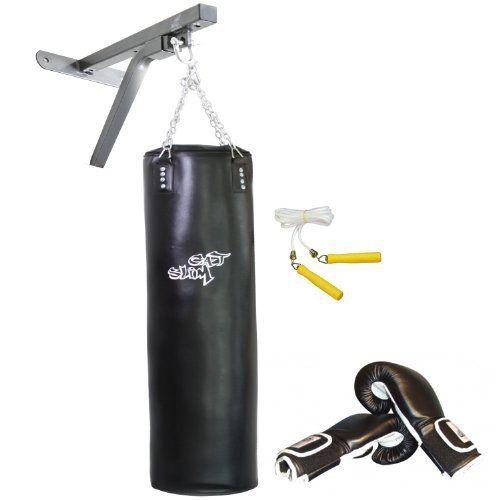 GAT POWER BWP2sw Boxset schwarz mit Wandmontage Paket: 150 cm Boxsack, Boxhandschuhe, Springseil und Boxsackhalterung von GAT POWER.