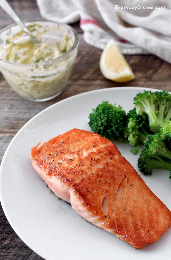 Serve pan-seared salmon at your next dinner party! Lightly seasoned, cooked in minutes and topped with a delicately flavored butter sauce, it's sure to impress your guests—plus, it's a fantastic way to get your omega-3's. - Everyday Dishes & DIY