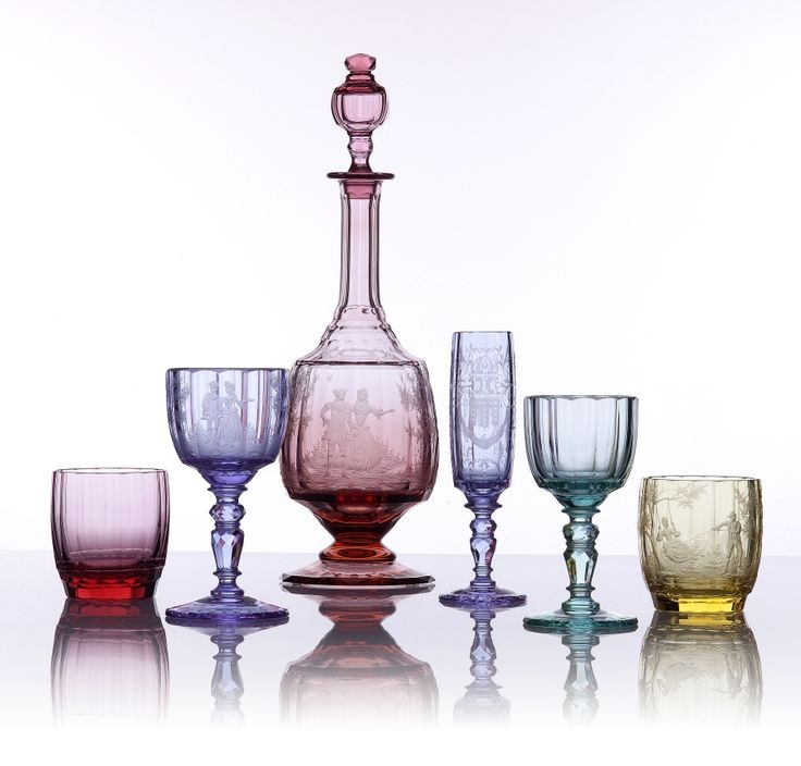 Drinking set Maria Theresia 10620 » Moser glassworks - Luxury Bohemian Crystal Glass.  The stems of the goblets are what grabbed my attention... very detailed and intricate.  So unusual.  Stunning glassware.  Comes in clear or any of these colors.