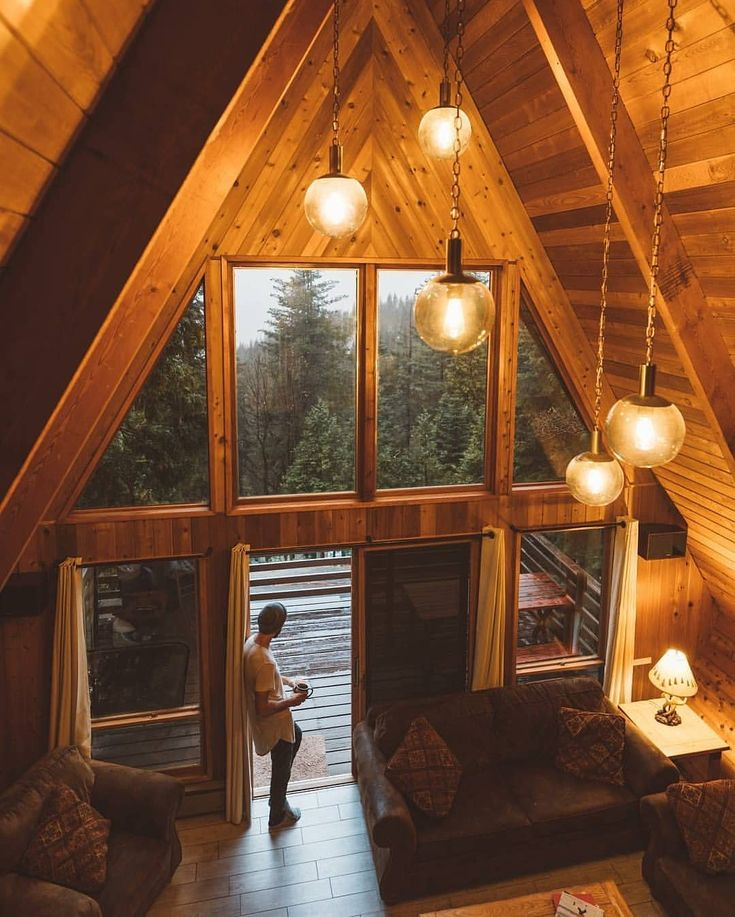 Love an a-frame with a wall of windows