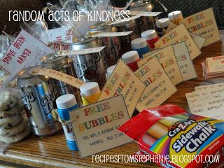 Random Acts of Kindness-done as a young women/youth group activity. I like this idea, maybe a monthly activity, could be as small as sidewalk chalk for kids in Sunday school, or as big helping a family in need