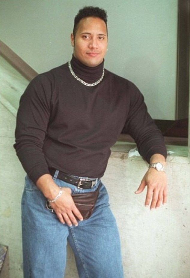 'It's '90s Rock!' Dwayne Johnson treats fans to a flashback picture on Instagram... and claims he looks like a 'buff lesbian'