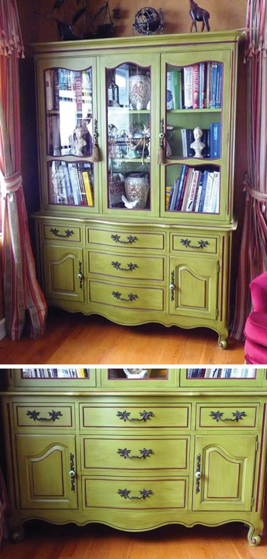 Traditionally Modern Designs: Vintage China Cabinet, painted green and distressed with brown