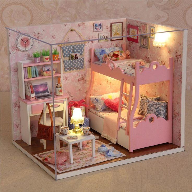 Ручной деревянные игрушки куклы дом с мебелью сборка DIY миниатюрный комплект…