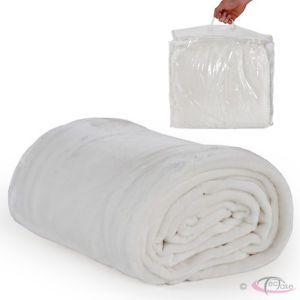 Deken Sprei Knuffeldeken Wollen deken Plaid 220 x 240 cm wit met draagtas