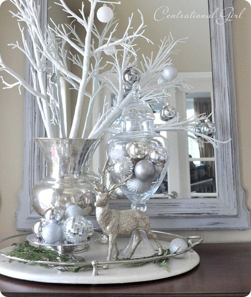 Unique Christmas Vignette Ideas On Pinterest Xmas - Decorating dining room christmas white silver christmas palette